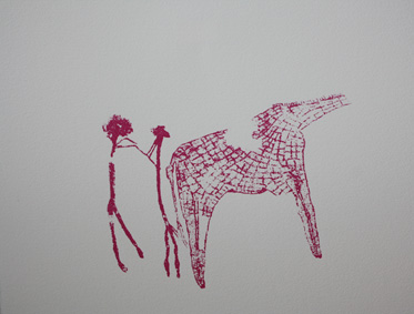 Druckgrafik Ritz ART Giraffe in magenta
